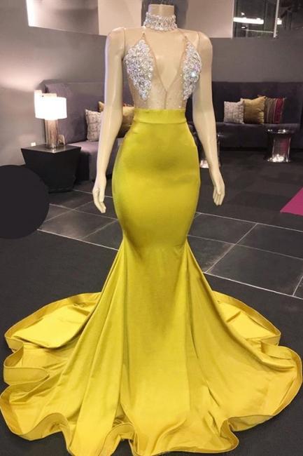 Yellow Sleeveless Floor Length Crystals Sheer Sparkly Sexy Mermaid Prom Dresses
