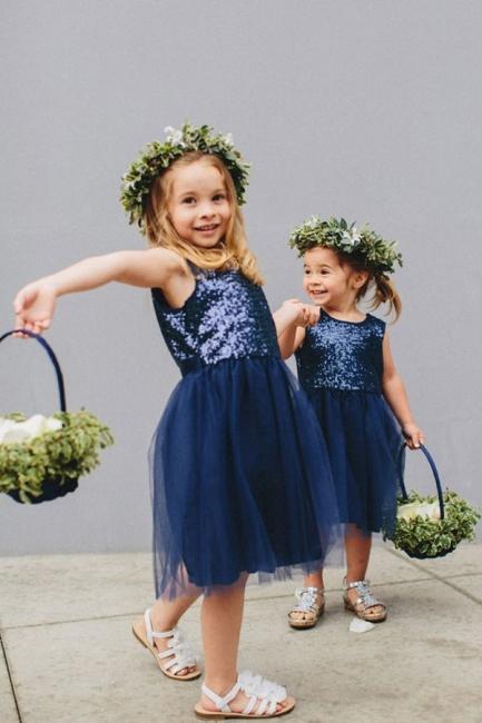Cheap Short Sequin Flower Girl Dress Cute Tulle Wedding Party Dress