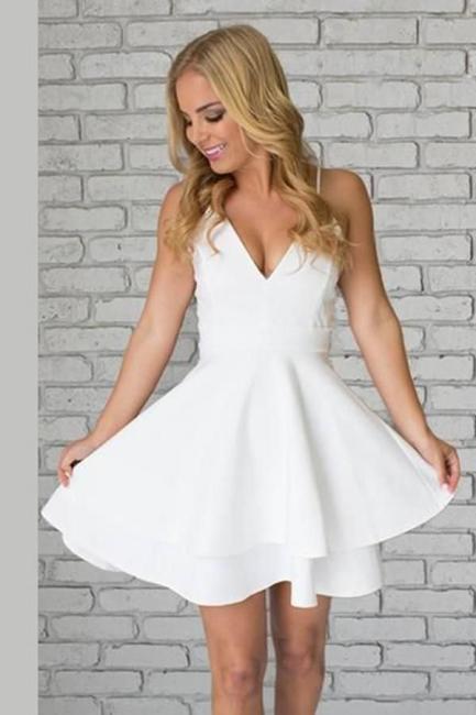 Lace Mini Spaghetti-Strap Cute Sleeveless White Homecoming Dress