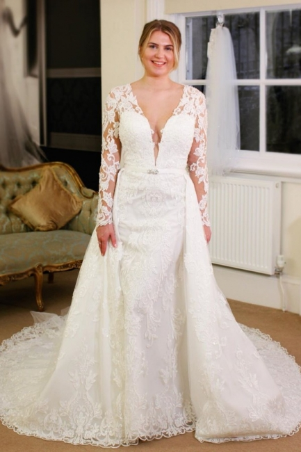 V-neck Lace Sheath Detachable Skirt Wedding Dresses with L ong Sleeves
