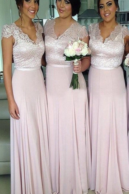 V-Neck Lace A-Line Bridesmaid Dresses Short Sleeve Floor Length Prom Gowns