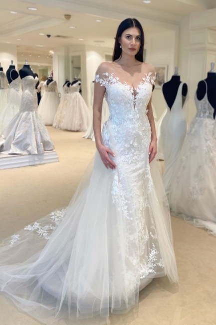 Jewel Sheer Lace Cap Sleeves Chic 2 in 1 Detachable Wedding Dresses