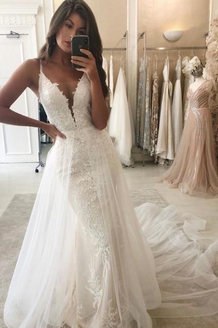 Spaghetti Straps Lace Mermaid Removable Detachable Wedding Dresses