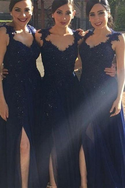 Navy Blue Lace Appliques Side-Slit Chiffon A-line Bridesmaid Dresses