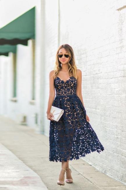 Women's Grace Spaghetti Straps V-neck Lace Tea Length Party Dresses for Weddingg