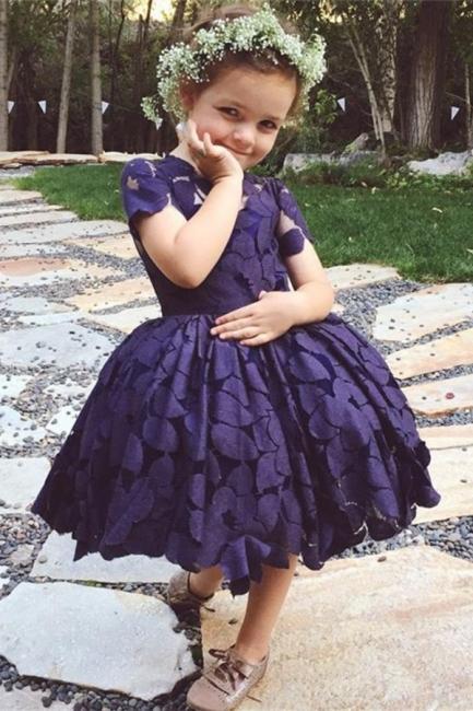 Short Sleeve Knee-Length Lace Jewel Lovely Flower Girl Dress