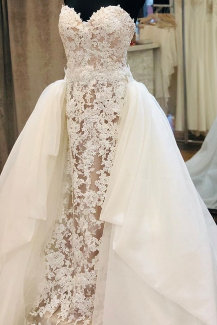 Strapless Sweetheart Elegant Lace Wedding Dresses With Detachable Skirts
