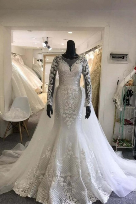 Jewel Lace Sheath Detachable Skirt Wedding Dresses with Long Sleeves