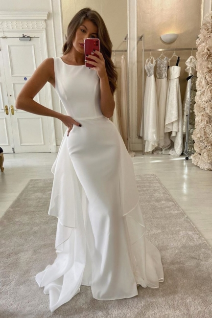 Bateau Sleeveless Sheath Wedding Dresses With Tulle Detachable Overskirt