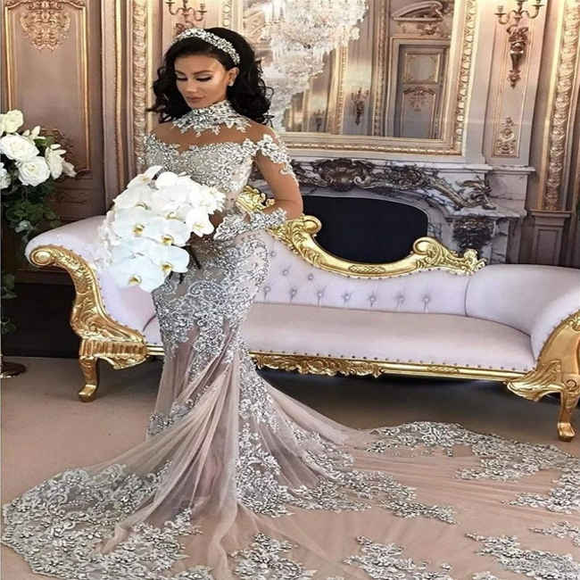 Luxury Silver Mermaid Wedding Dresses | Long Sleeves Lace High Neck Bridal Gowns