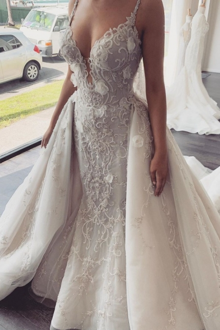 Spaghetti Straps V-neck  Mermaid Removable Skirt Convertible Wedding Dresses
