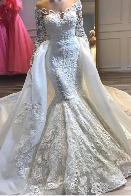 Alluring Long Sleeve Applique Fit And Flare Mermaid Detachable Skirt Overlay Wedding Dress