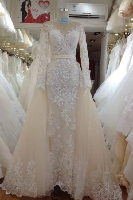 Elegant Jewel Long Sleeve Applique Beading Column Detachable Skirt Wedding Dress