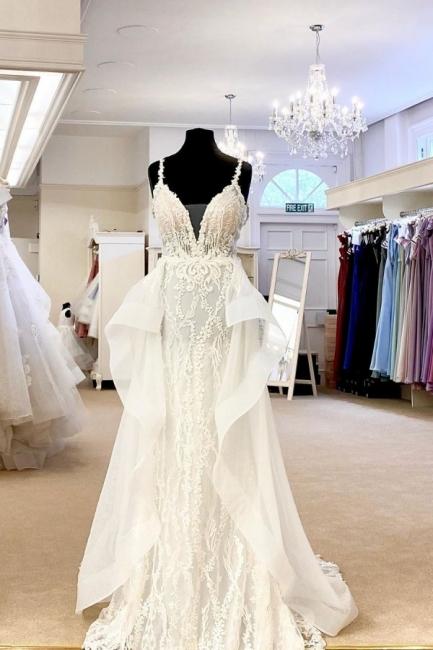 Sexy Spaghetti Strap V Neck Lace Sheath Detachable Skirt Overlay Wedding Dress