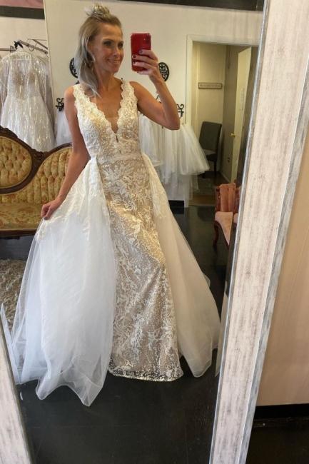 Unique Straps Plunging V Neckline Floor Length Lace Column Detachable Skirt Overlay Wedding Dress