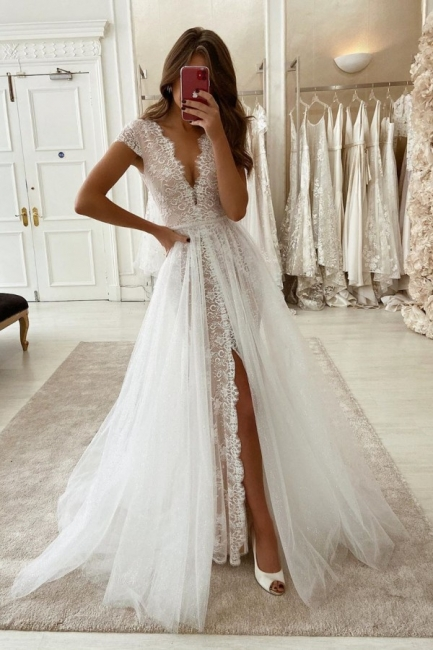 V-neck Cap Sleeves Grace Lace Wedding Dress With Detachable Overskirt