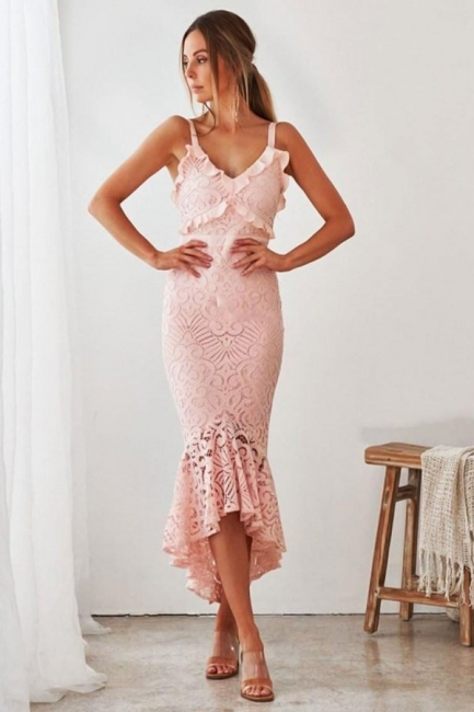 Chic Spaghetti Straps V-neck Fit Mermaid Tea Length Party Dresses for Wedding Guest