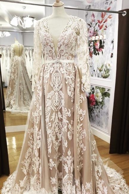 V-neck Long Sleeves Sheath Detachable Skirt Overlay Wedding Dresses