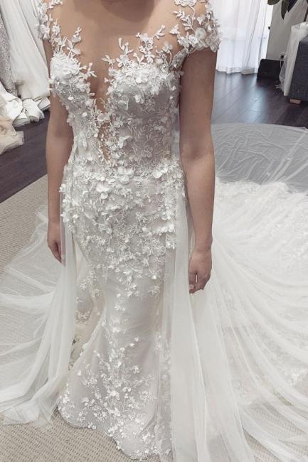 Stylish Jewel Sheer Lace Cap Sleeves Detachable Skirt Wedding Dresses