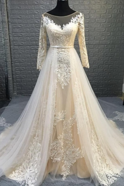 Graceful Jewel Long Sleeve Lace Sash A Line Wedding Dress With Detachable Train