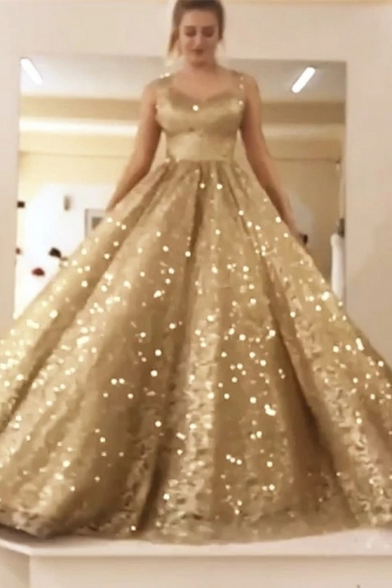 Sparkly Sequin Ball Gown Prom Dresses | Long Sleeves Evening Dresses