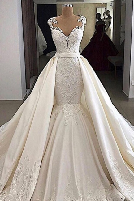 V-neck Cap Sleeves Lace Mermaid Convertible Skirt Overlay Wedding Dresses