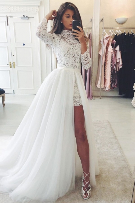High Neck Long Sleeves Lace Wedding Dresses With Detachable Skirts