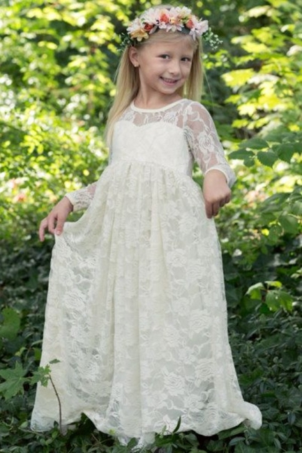 Modern Flower Length A-line Lace Long-Sleeve Jewel Flower Girl Dress with Bow
