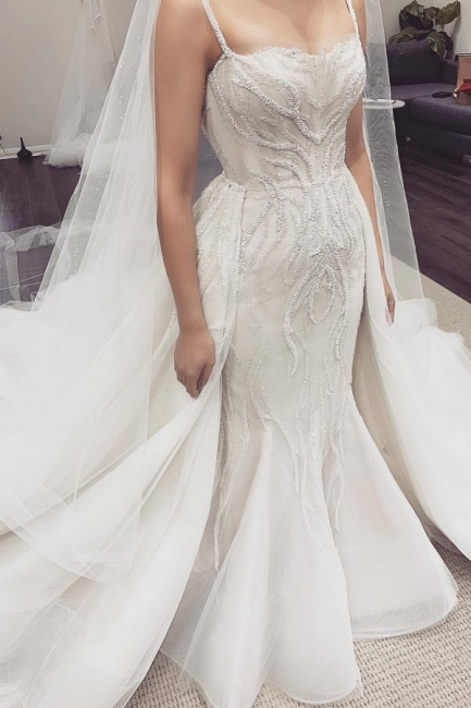Spaghetti Straps Fit and Flare Wedding Dresses With Removable Train
