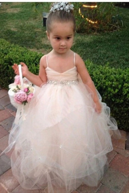 Spaghetti Straps Sleeveless Sequins Sash Ball Gown Tulle Lovely Flower Girl Dresses