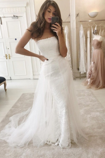 Modern Strapless FItted Lace Detachable Skirt Overlay Wedding Dresses