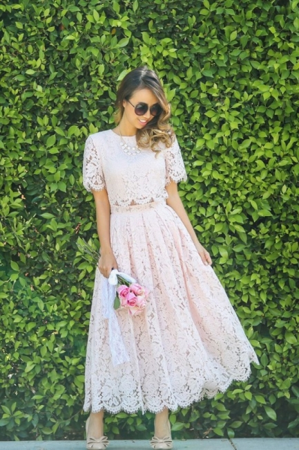 Round Neck Short Sleeves Grace Pink Lace Tea Length Wedding Guest Dresses