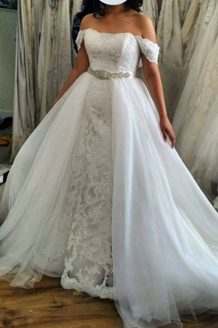 Off The Shoulder Lace Sash A Line Wedding Dresses With Detachable Skirt