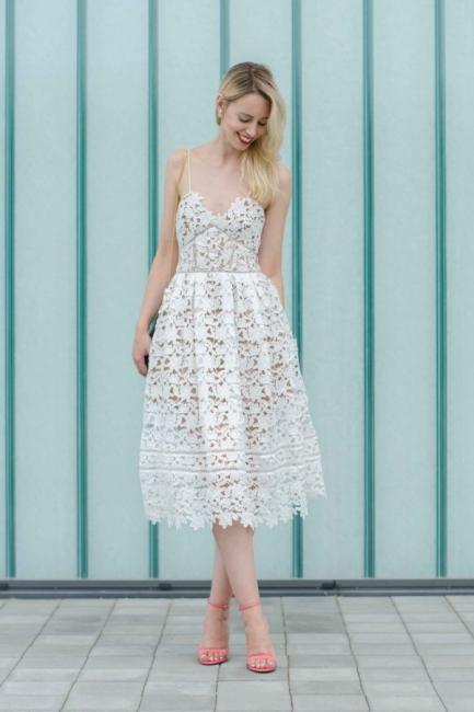 Stylish Spaghetti Straps V-neck A-line Midi Lace Wedding Guest Dresses