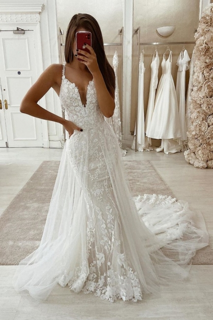 Spaghetti Straps Lace Fit and Flare Wedding Dresses with Detachable Sparkle Overskirt