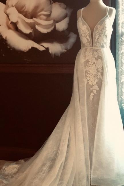 Elegant Spaghetti Strap Punging V Neckline Lace Sheath Wedding Dress With  Detachable Overskirt
