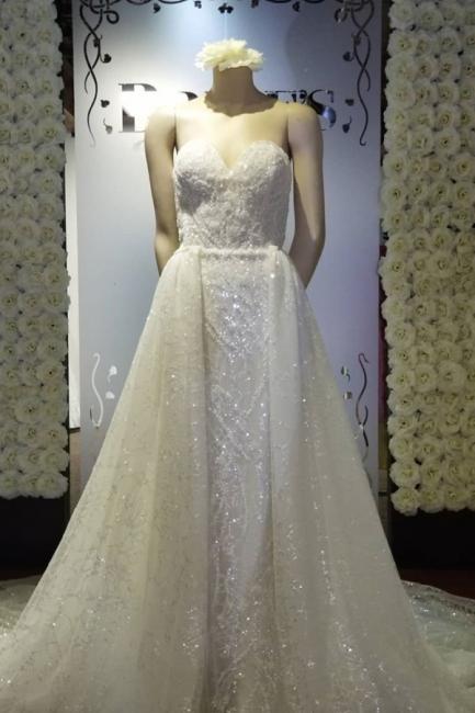 Strapless Sweetheart Glittering Detachable Overlay Wedding Dresses
