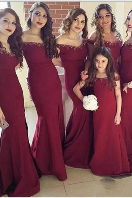 New Arrival Simple Mermaid Off-the-Shoulder Side-Slit Crystal Bridesmaid Dress