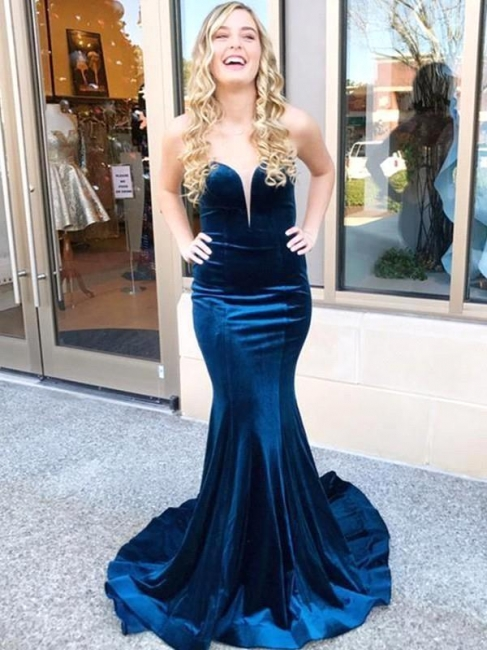 Dark Navy Mermaid Prom Dresses | Velvet Criss-cross Back Party Dresses
