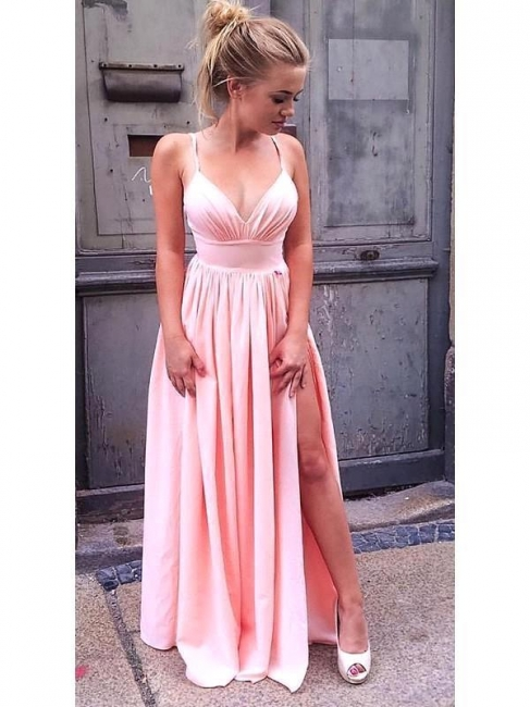 Hot Pink A Line Bridesmaid Dresses With Slit  | Spaghetti Strap Party Dresses For Wedding