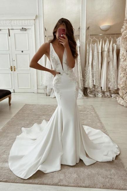 Long Mermaid V-neck Backless Wedding Dress Straps Appliques