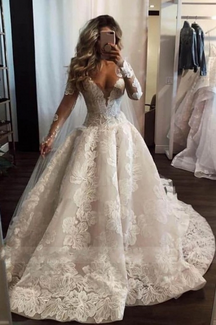 Fashion Long A-line V-neck Lace Wedding Dress with Sleeves