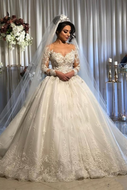 Princess Long Sleeve Lace Applique Ball Gown Wedding Dress | Puffy Bridal Gown
