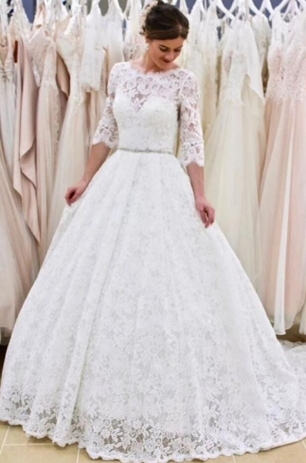 Modern Long A-line Lace Floor length Wedding Dress with Sleeves
