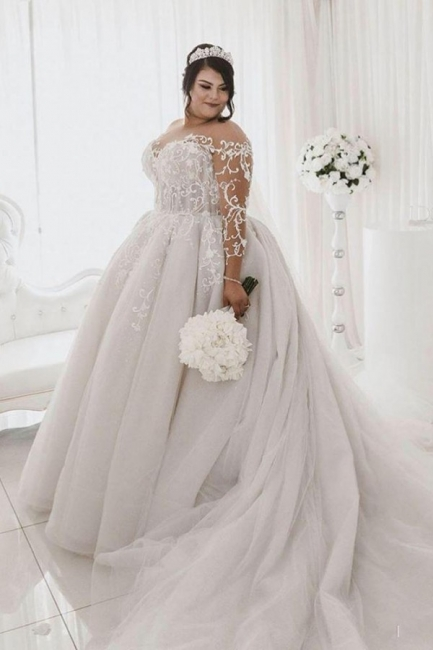 Plus Size Jewel Long Sleeve Applique Ball Gown Wedding Dresses | Pearls Bridal Gown