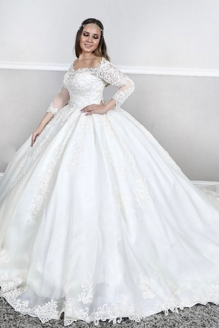 Gorgeous Sweetheat Off The Shoulder Long Sleeve Lace Puffy Ball Gown Wedding Dresses