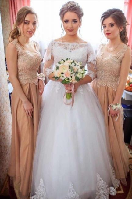 Elegant Bateau Long Sleeve Applique A Line Wedding Dresses