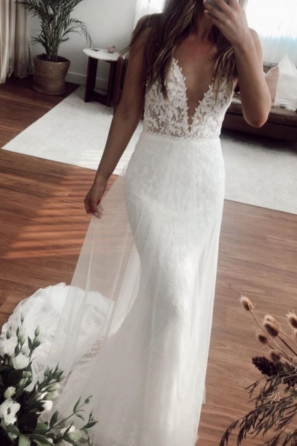 Casual Straps V Neck Lace Column Wedding Dresses | Detachable Skirt Wedding Gown