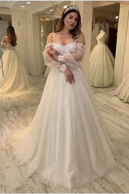 Charming Sheer Jewel Neckline Long Sleeve A Line Wedding Dresses | Floral Wedding Gown