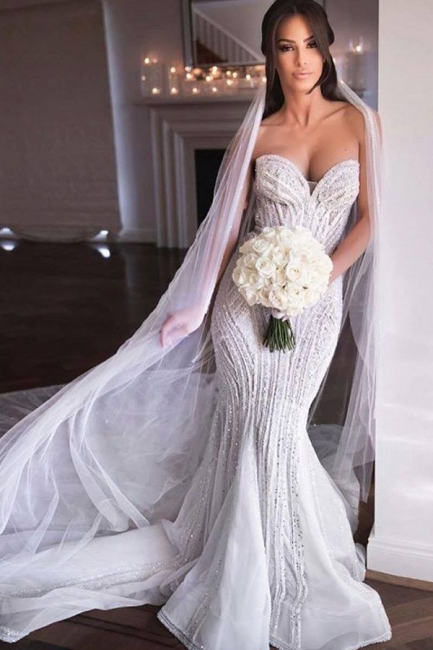 Gorgeous Sweetheart Crystal Sequin Mermaid Wedding Dresses | Fit And Flare Wedding gown